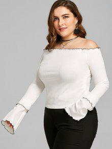 5ee0fa8fc01 39% OFF  2019 Plus Size Lettuce Edge Off Shoulder Top In WHITE