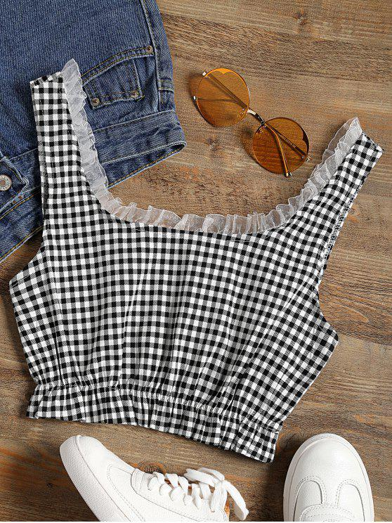 hot Frilled Gingham Check Crop Top - BLACK WHITE S