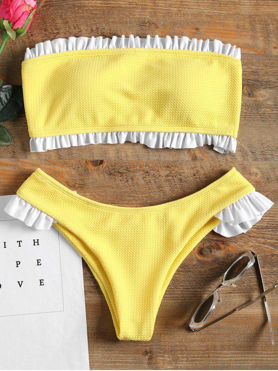 Conjunto de bikini bandeau con volantes - Amarillo L