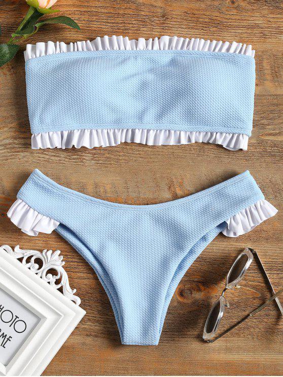 Rüschen Bandeau Bikini Set - Hellblau L