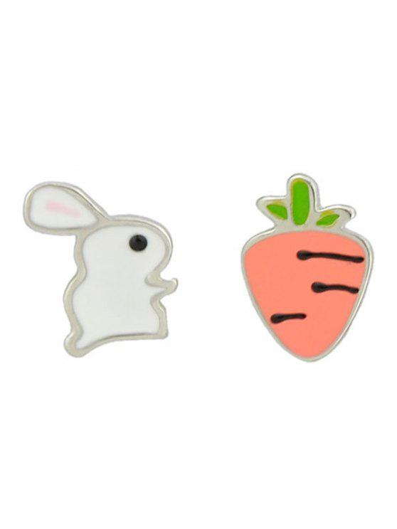 Bunny and Radish Asymmetric Stud Earrings - Blanco