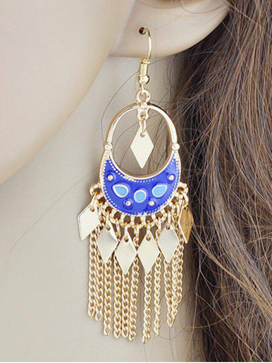 trendy Chain Rhombus Fringed Hook Drop Earrings - BLUE