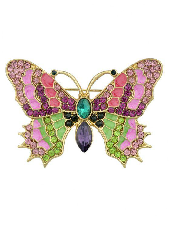 Broche de papillon en métal incrusté de strass coloré - Multicolore