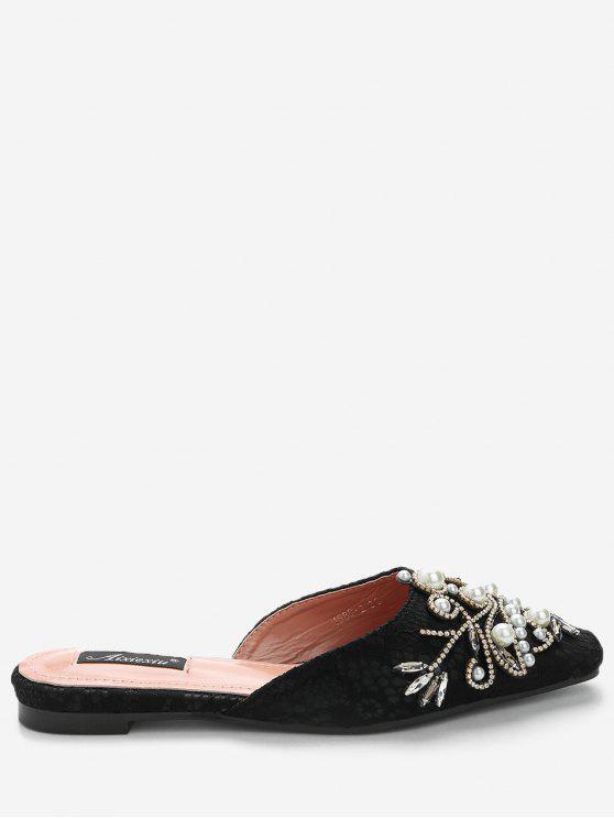 Rhinestone Lace Embellished Mules Shoes - Preto 39