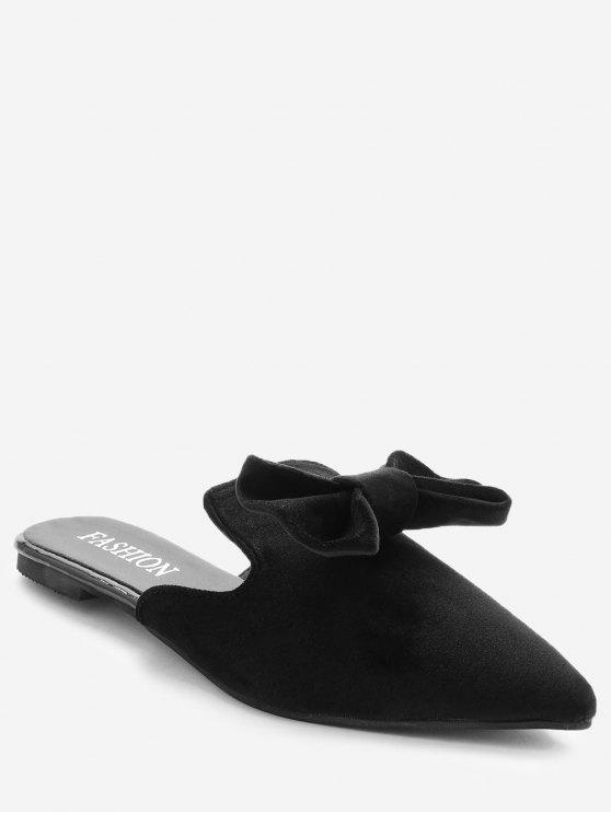 Pointe Toe Backless Loafers - Preto 35