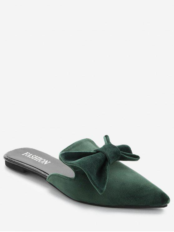 shop Pointy Toe Backless Loafers - GREEN 35