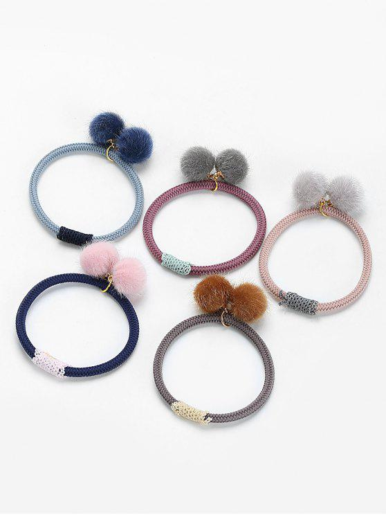 hot 5Pcs Elastic Pom Pom Ball Hair Bands - COLORMIX