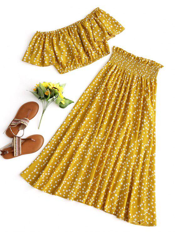 outfit Polka Dot Crop Top and Skirt Set - MUSTARD S