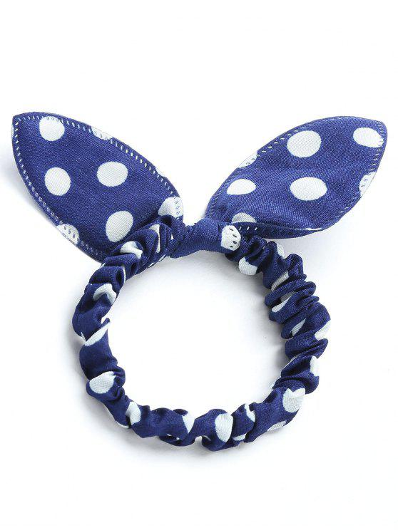 Bowknot Polka Dot Stertching Hair Band - Cerúleo