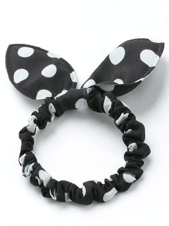 Bandeau Cheveux Étirable à Pois avec Nœud - Noir