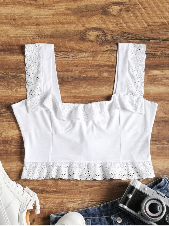 womens Embroidered Seamed Crop Tank Top - WHITE L