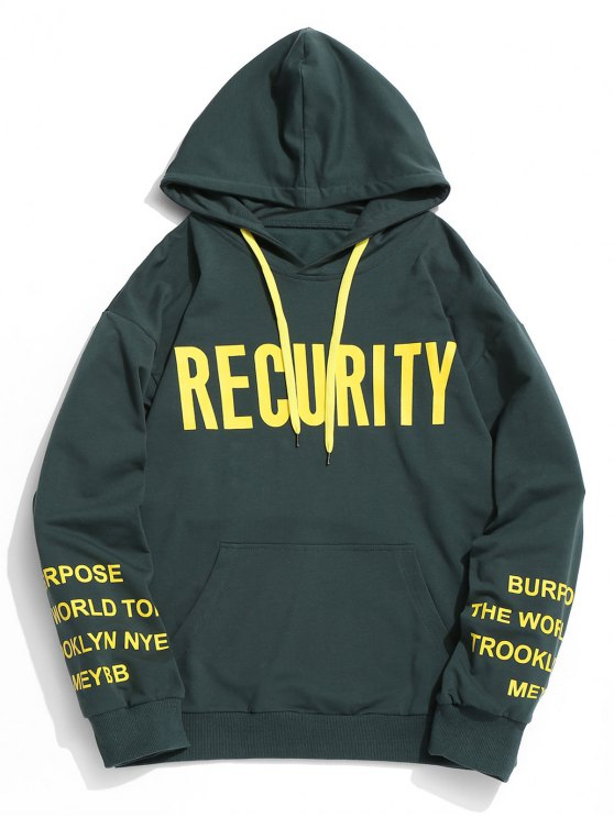 hot Recurity Graphic Pullover Hoodie - BLACKISH GREEN 2XL