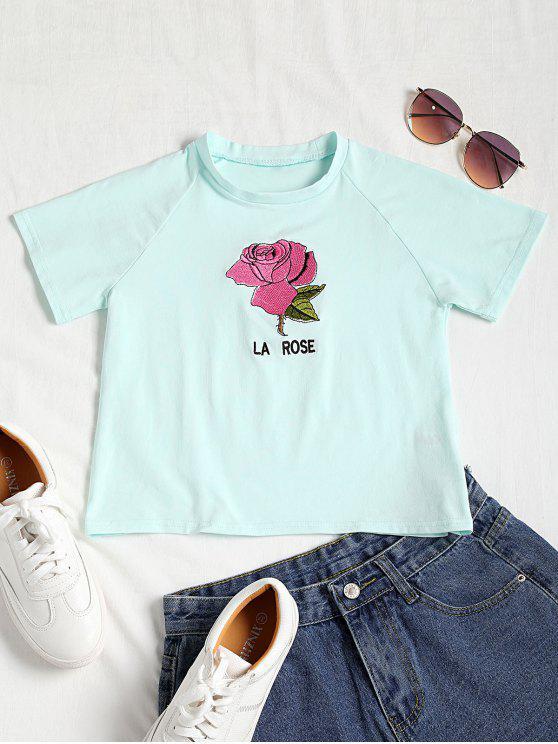 T-shirt Court à Rose Brodée - Vert Clair S
