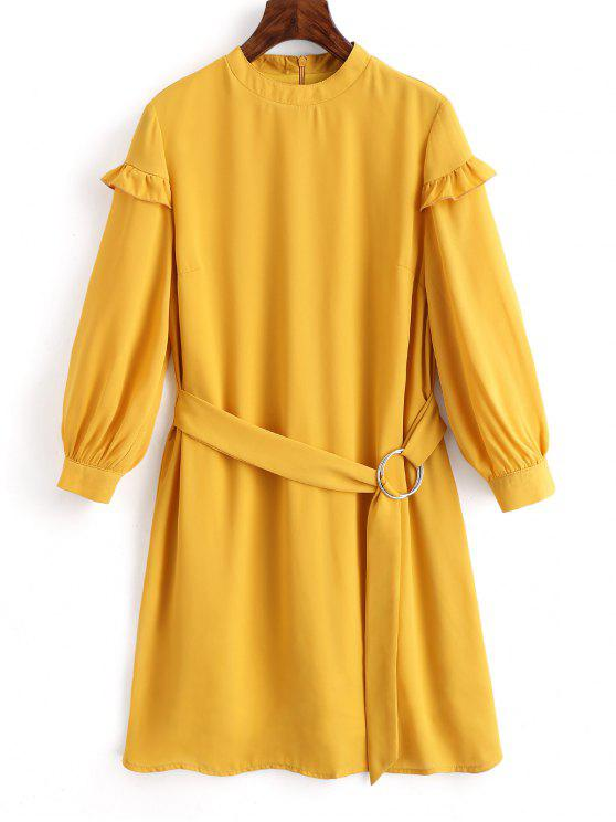 trendy High Neck Belted Shift Dress - MUSTARD XL