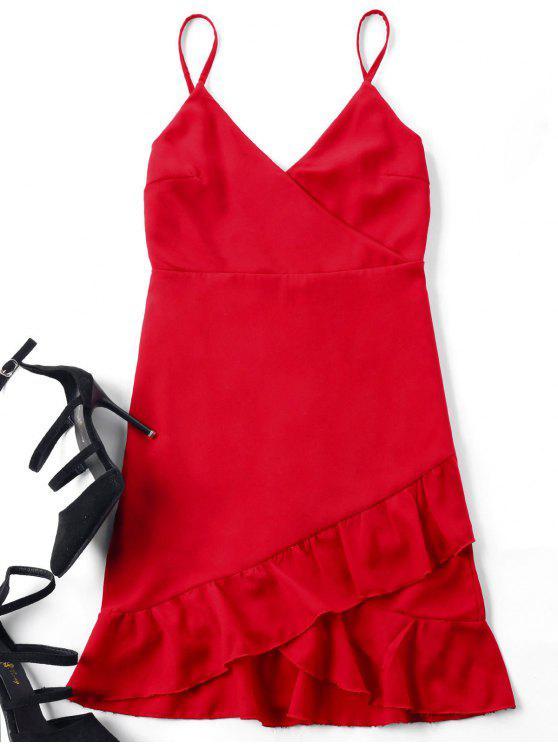 Mini Robe Cami à Bretelle Et à Volant - Rouge S