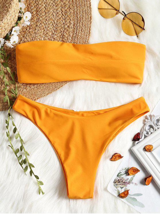 Fato de banho bandeau acolchoado - Amarelo Gengibre L