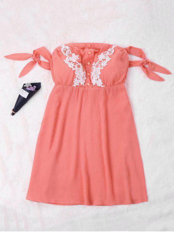 chic Tie Mini Off Shoulder Dress - WATERMELON RED XL
