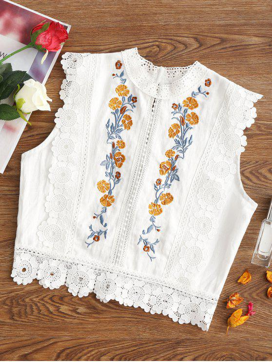 lady Floral Patched Lacework Sleeveless Blouse - WHITE M