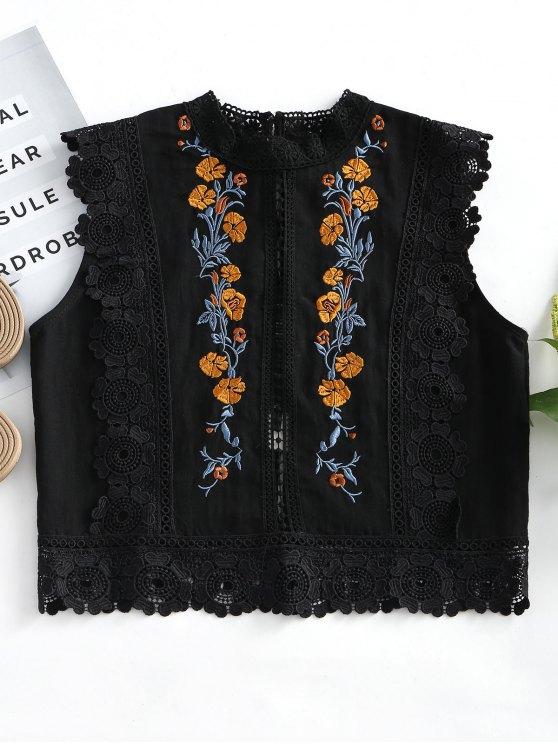 بلوزة بلا أكمام مرقع بالأزهار - أسود L