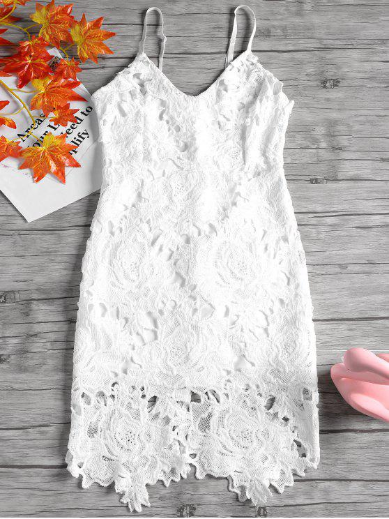 Back Slit Cami Lace Dress - Branco XL