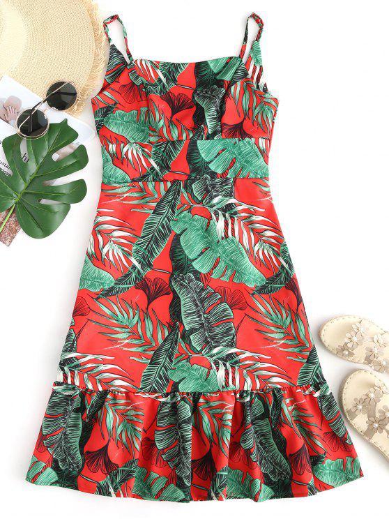 فستان كامي طباعة الأوراق مفتوحة الظهر - أحمر و أخضر S