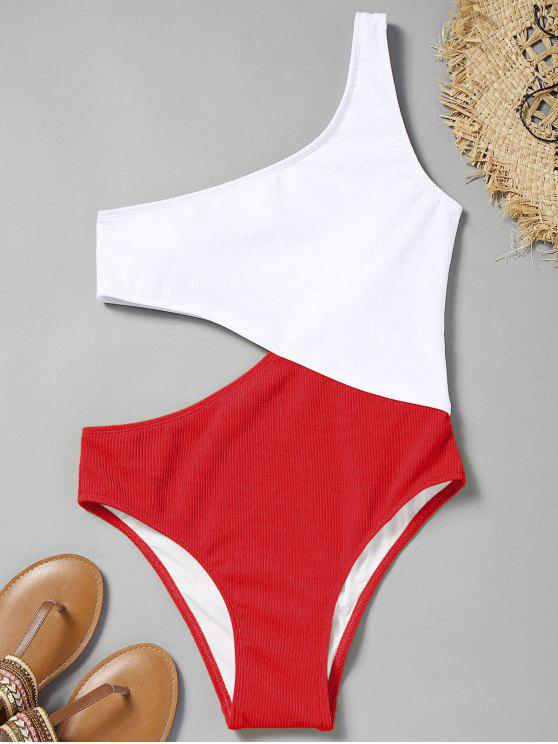 fancy Cutout Ribbed One Shoulder Swimsuit - RED S