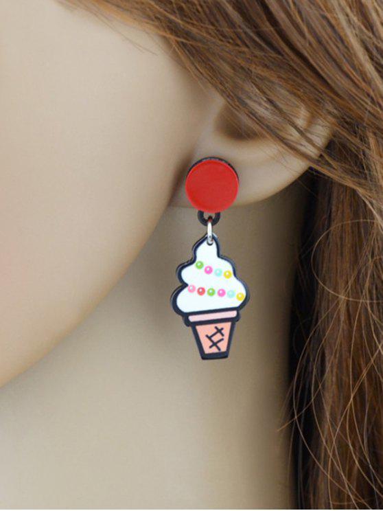 Boucles d'oreilles de crème glacée Kawaii - Blanc