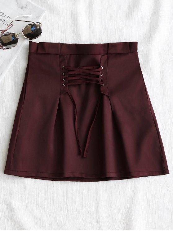 تنورة مصغرة رباط - نبيذ أحمر M