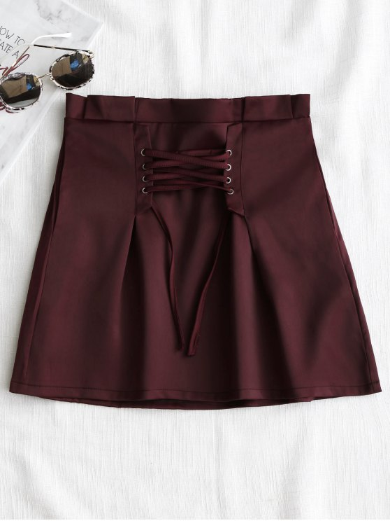 trendy Corset Lace Up Mini Skirt - WINE RED L