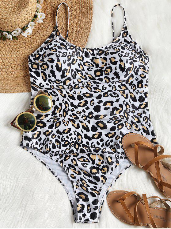 fancy Leopard High Cut Plus Size Swimsuit - LEOPARD PRINT PATTERN 2XL