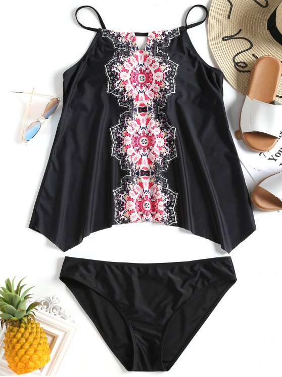 best Mandala Print Plus Size Tankini Set - BLACK 3XL
