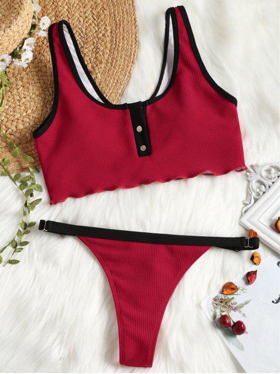 Botón de imitación acanalado con parte inferior con tanga de natación - Rojo L