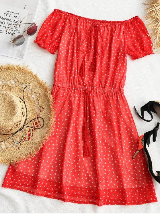 فستان ميني طباعة  الكتف صغير البسيطة - أحمر M