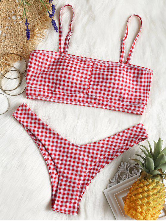 best Cut Out Checked Swim Bra and High Leg Bottoms - RED WITH WHITE L