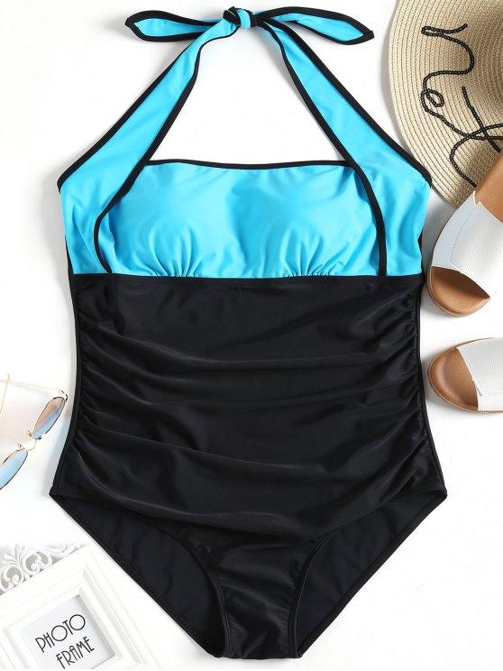 fashion Color Block Halter Plus Size Swimsuit - BLUE AND BLACK 2XL