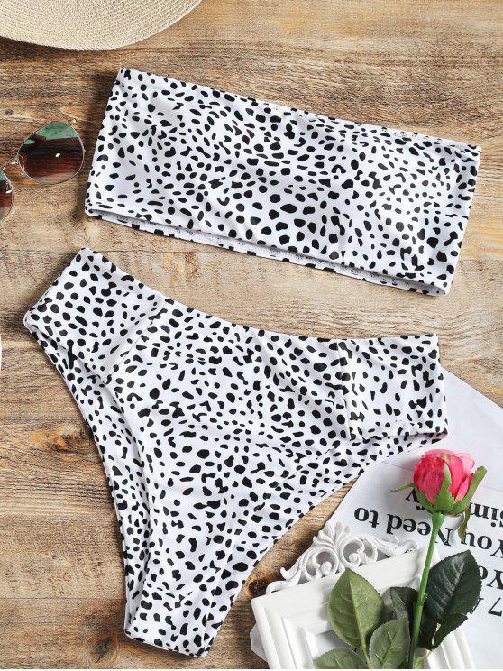 buy Bandeau Bralette Leopard High Cut Bikini - WHITE L