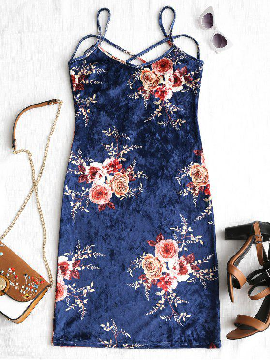 hot Floral Pattern Velvet Cami Dress - FLORAL XL