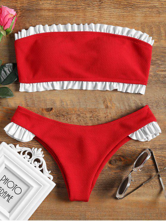 Rüschen Bandeau Bikini Set - Rot M