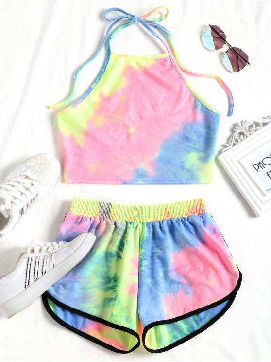 unique Tie Dyed Crop Top and Shorts Set - YELLOW AND BLUE M