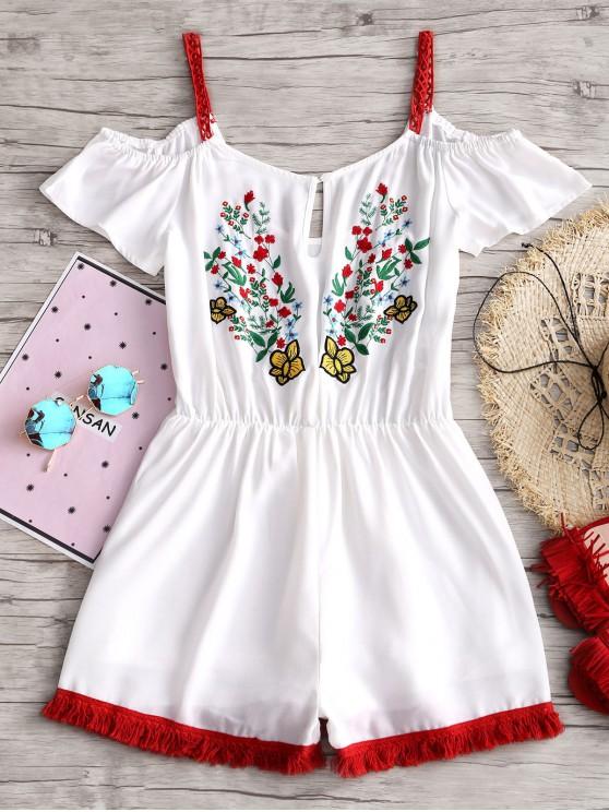الزهور البارد الكتف الشيفون رومبير - أبيض S