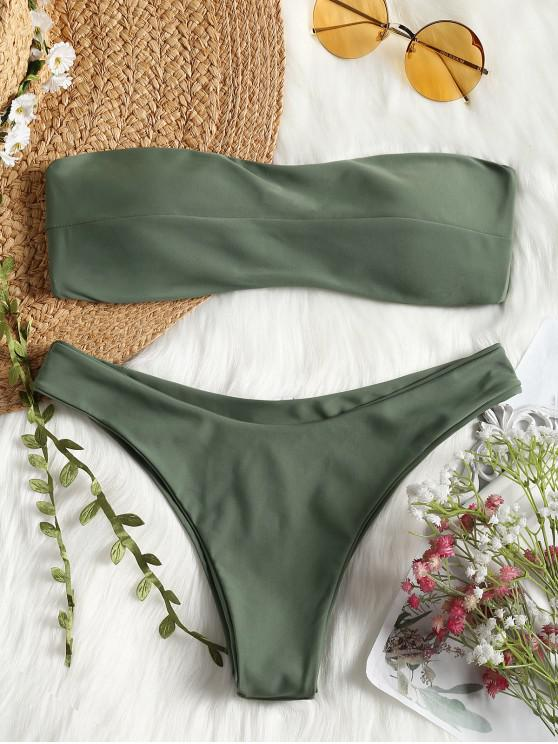hot Padded Bandeau Bathing Suit - GREEN M