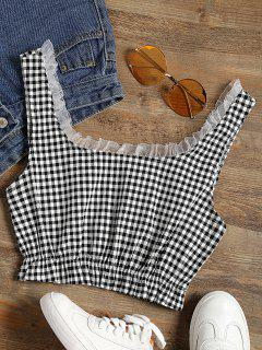 Frilled Gingham Check Crop Top - Black White S