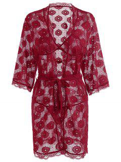 Floral Lace Bra Set And Kimono - Red