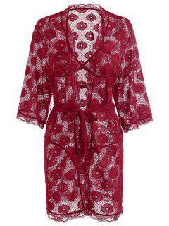Conjunto De Sujetador De Encaje Floral Y Kimono - Rojo