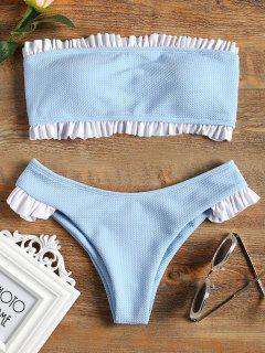 Conjunto De Bikini Bandeau Con Volantes - Azul Claro S