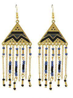 Geometric Retro Fringed Metallic Hook Drop Earrings - Black