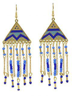 Geometric Retro Fringed Metallic Hook Drop Earrings - Blue