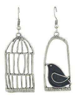 Metal Bird Cage Y Enamel Bird Hook Earrings -