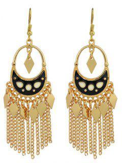 Chain Rhombus Fringed Hook Drop Earrings - Black