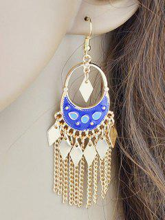 Chain Rhombus Fringed Hook Drop Earrings - Blue
